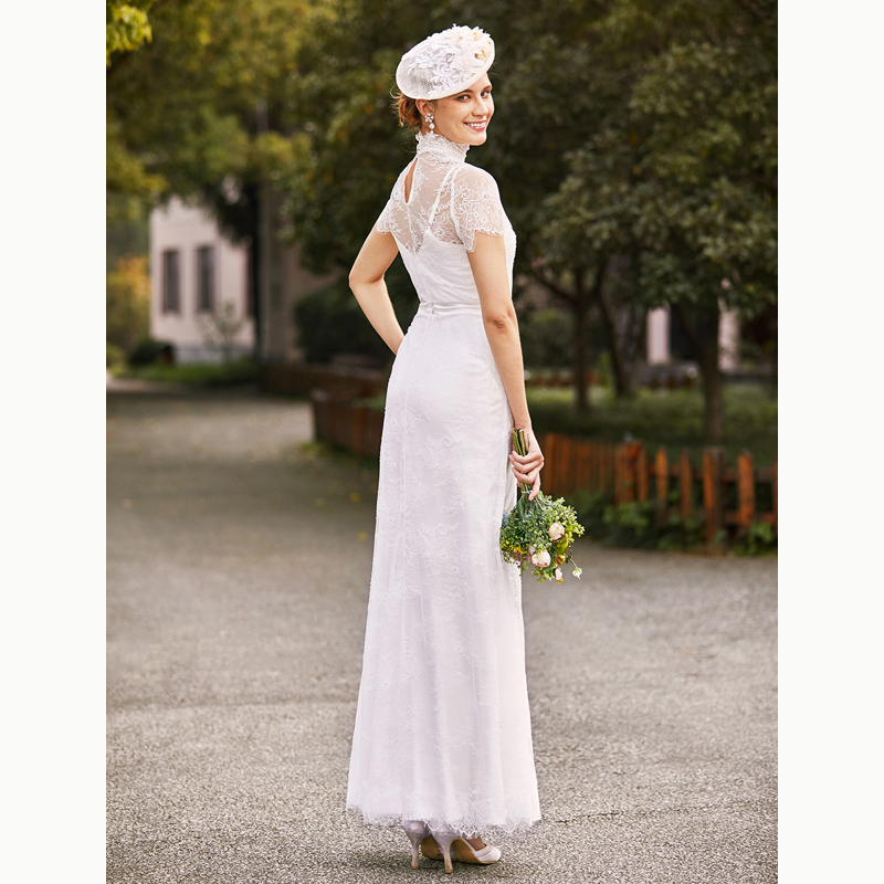 LAN TING BRIDE Sheath Column Wedding Dress Two Piece High Neck Floor Length  Lace Charmeuse Bridal Gow with Beading Sash Ribbon -in Wedding Dresses from  ... 9cf240db2845
