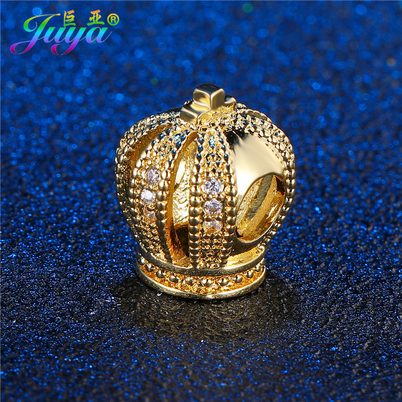 Wholesale DIY Metal Beads Paved Zircon Queen Crown Metal Beads Findings DIY Pandor Bracelets Making Big Hole Beads Accessories