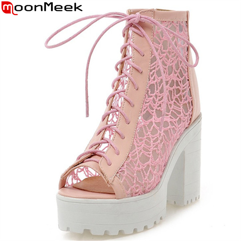 MoonMeek 2018 hot sale new arrive women summer boots fashion lace up peep toe summer shoes sexy lady prom shoes big size 34-43 summer fashion nurse shoes ladies air cushion white sneakers women platform shoes 2018 new lolita shoes swing hot sale big size
