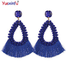 Yuexinfu New Oorbellen Crystal Tassel Drop Earrings For Women Bohemia Bohemian Dangle Earrings Statement Fringe Earring Jewelry(China)