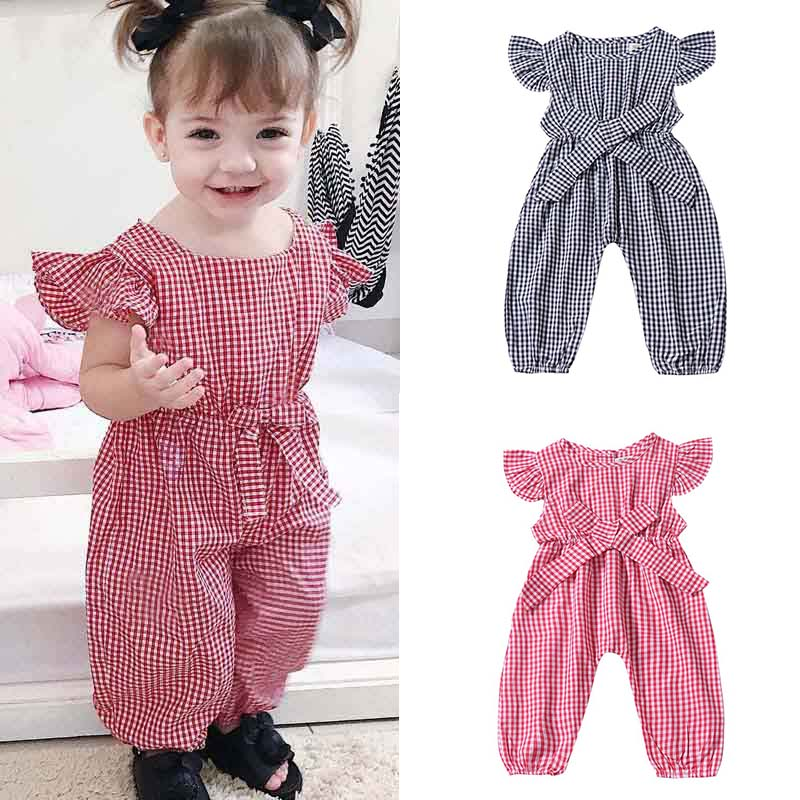 Baby Girl Clothing Rompers Kids Clothes Summer Plaid Shirts