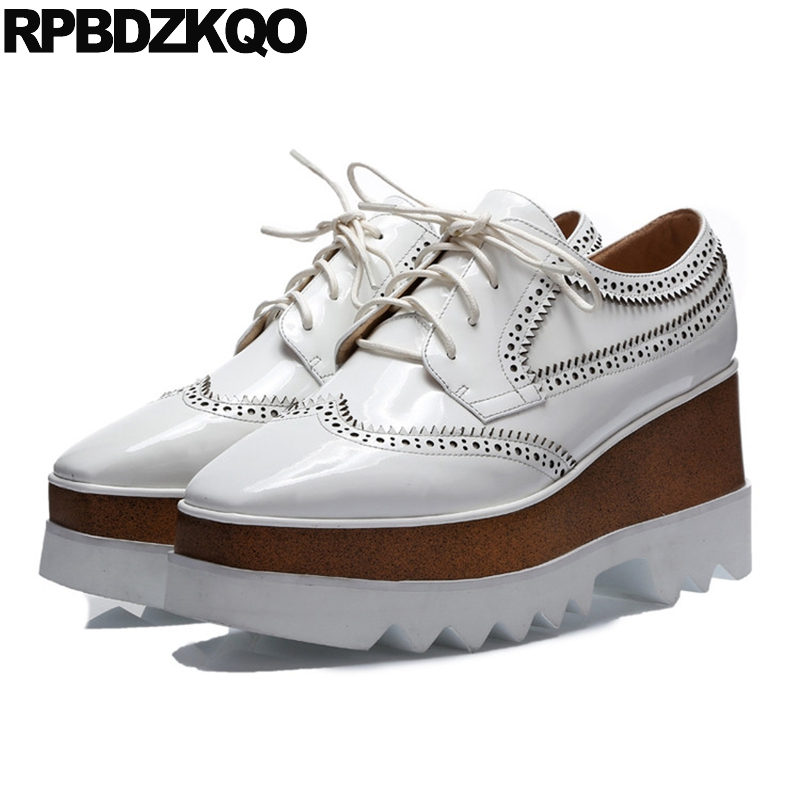 Wedge Creepers Platform Shoes Harajuku Women Sneakers Lace Up Real Leather 2017 White Brogue Ladies Round Toe Flats Beautiful стоимость