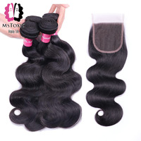 MSTOXIC Hair 3 Bundles Body Wave Human Hair Bundles With Closure Brazilian Hair Weave Bundles With