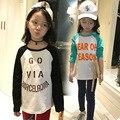 Tommu Carino Estilo Largo Primavera 2017 niños de los cabritos de Raglán Camiseta Ocasional para combinar la impresión Muchachas Del Algodón tops