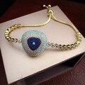 Yoge b6582y lujo micro pave configuración aaa piedras multicolores estilo turco mal de ojo brazalete de tenis, impresionante joyería