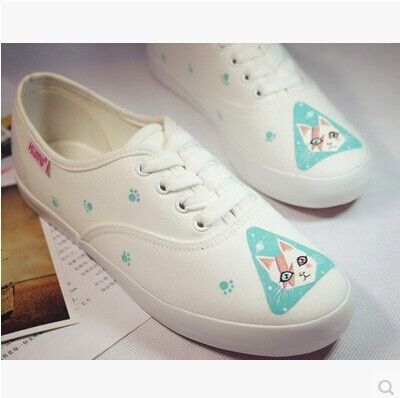 Free shipping 2014 new fashion style  cat sweet fresh small light shoes hand-printed women canvas shoes