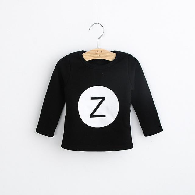 Invierno niños niñas niños bebé de la camiseta del o-cuello de manga larga impresa letra gris negro de la camiseta de lana gruesa hoodies niños pullover