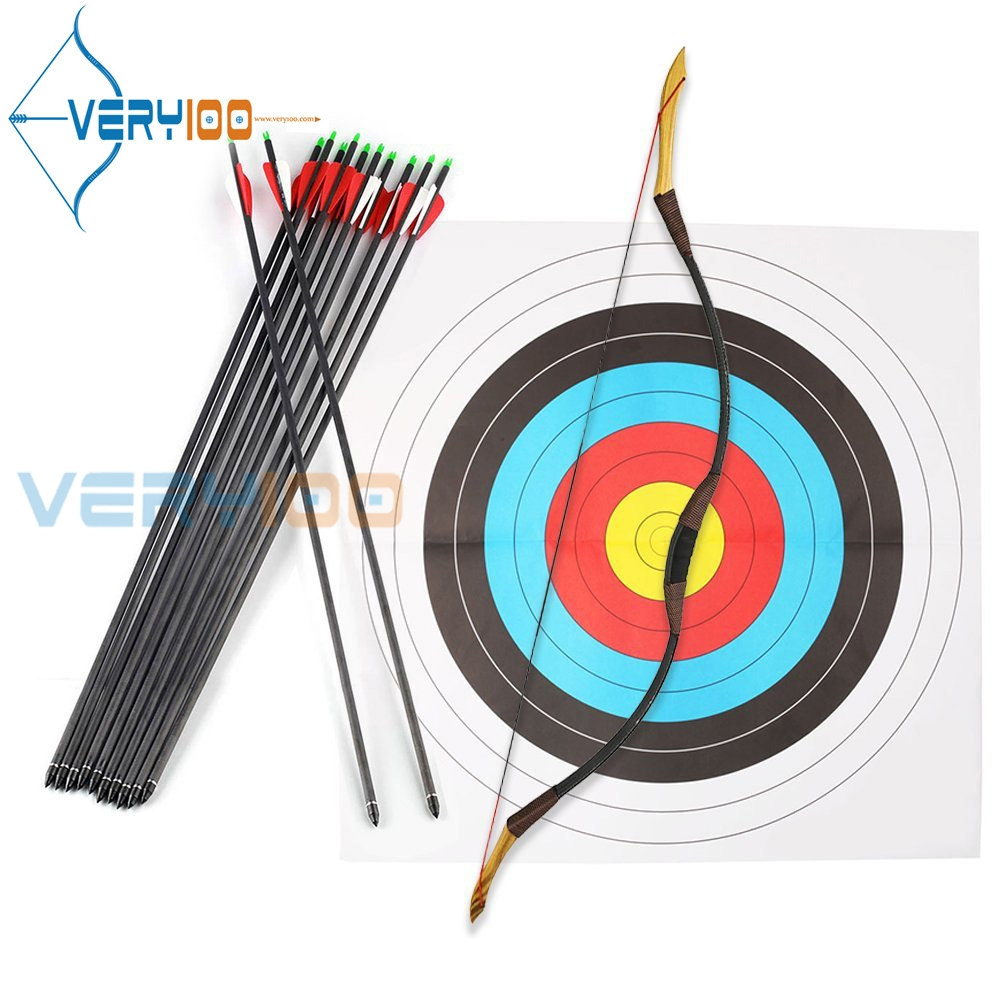 Recurve Bow Set Handmade Traditional Longbow Sport Archery Practice Bow Complete Set Kung 30 LB 125cm луки man kung junior 10 36 recurve bow set red mk rb009