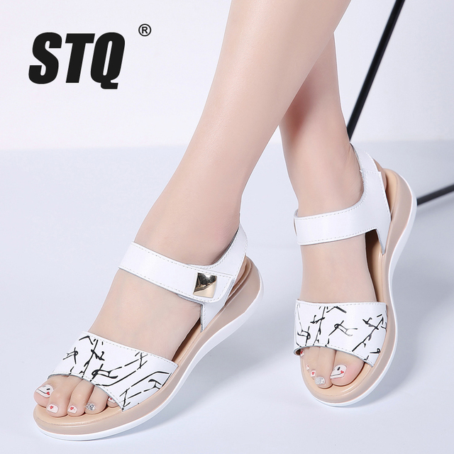 STQ 2020 Women Sandals Summer Genuine Leather Flat Sandals Ankle Strap Flat Sandals Ladies White Peep Toe Flipflops Shoes 1803