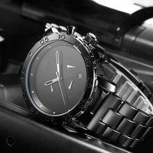 SINOBI hombres Relojes Deportivos Reloj Hombre Cronógrafo de Cuarzo Reloj de Moda A Prueba de agua 2017 de Acero Inoxidable Relogio masculino