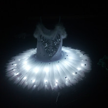 2017 Women's Luminous Ballet Skirt Children's New LED Dance Dress White woman Ballet dance tutu skirt