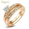 VOGEM alliance Wholesale Price 2PCS Finger Ring Sets White / Rose Gold Plated 0.5 CZ Diamond anillos mujer Wedding Ring Set