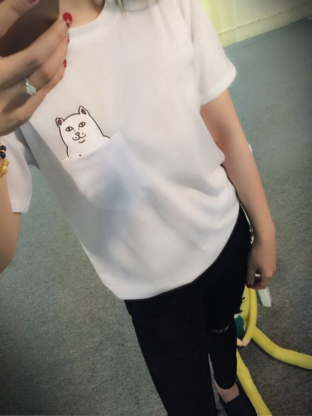 HTB1gpN4OFXXXXcWXpXXq6xXFXXX9 - Casual Lady T Shirt Printed Pocket Cat Top Cute Tee S-4XL