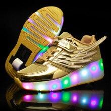 ใหม่สีชมพูทองราคาถูกแฟชั่นเด็กหญิงเด็กชายLED Light Rollerรองเท้าสเก็ตรองเท้าสำหรับเด็กรองเท้าผ้าใบล้อOneล้อ