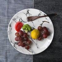 Großhandelspreis 4 teile/los Keramik Runde Essen Platten 8 zoll Glasabendgerichte Hand bemalt Marmor Muster Geschirr Dishes-071