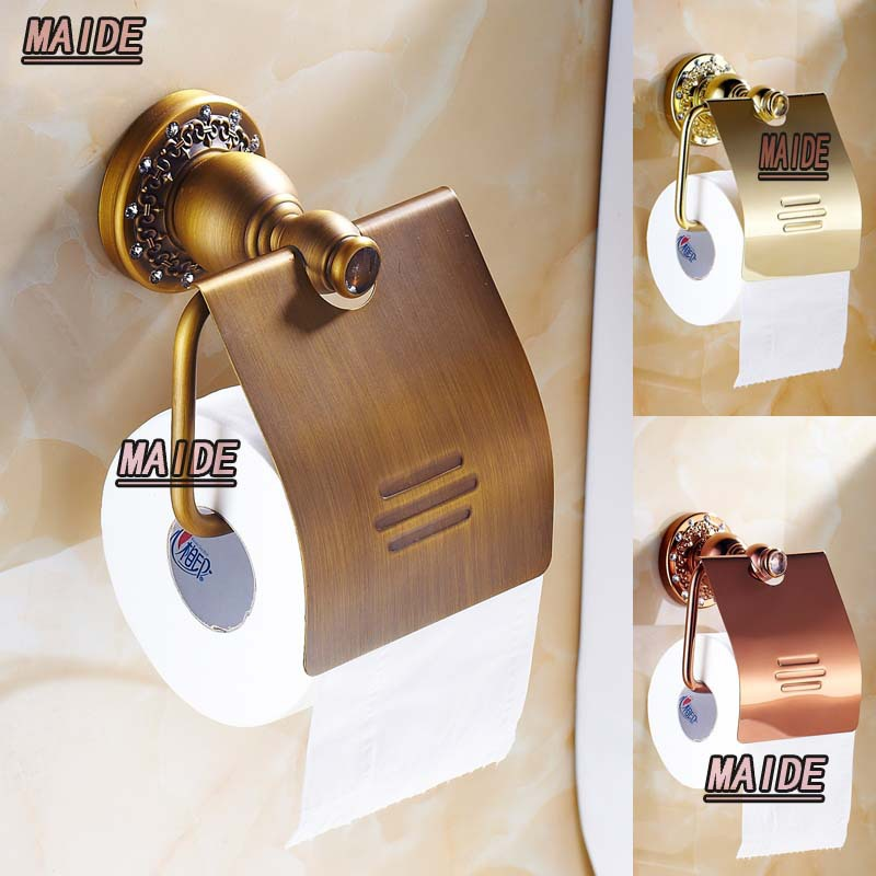 European brass & crystal Copper antique toilet paper holder tissue box bathroom accessories,Antique copper,Rose gold,Chrome free shipping ba9105 bathroom accessories brass black bronze toilet paper holder