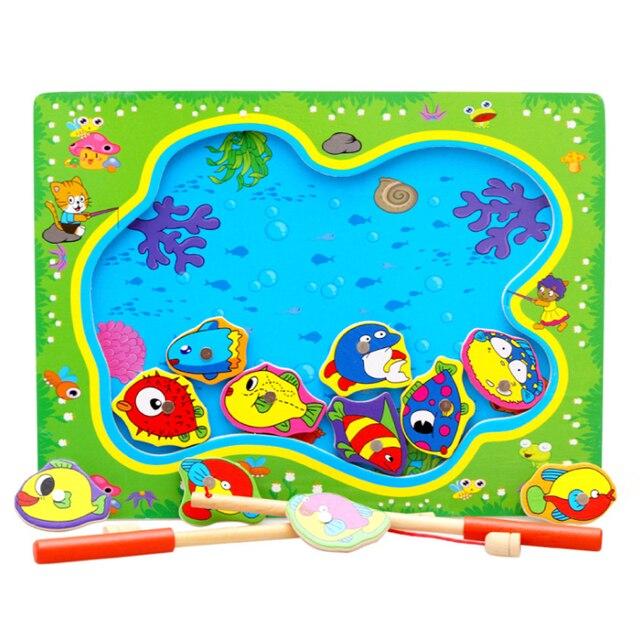 Детские Магнитного Рыбалка Игрушки, Игры Настольные Деревянные Головоломки Развивающие Игрушки для Детей Kids