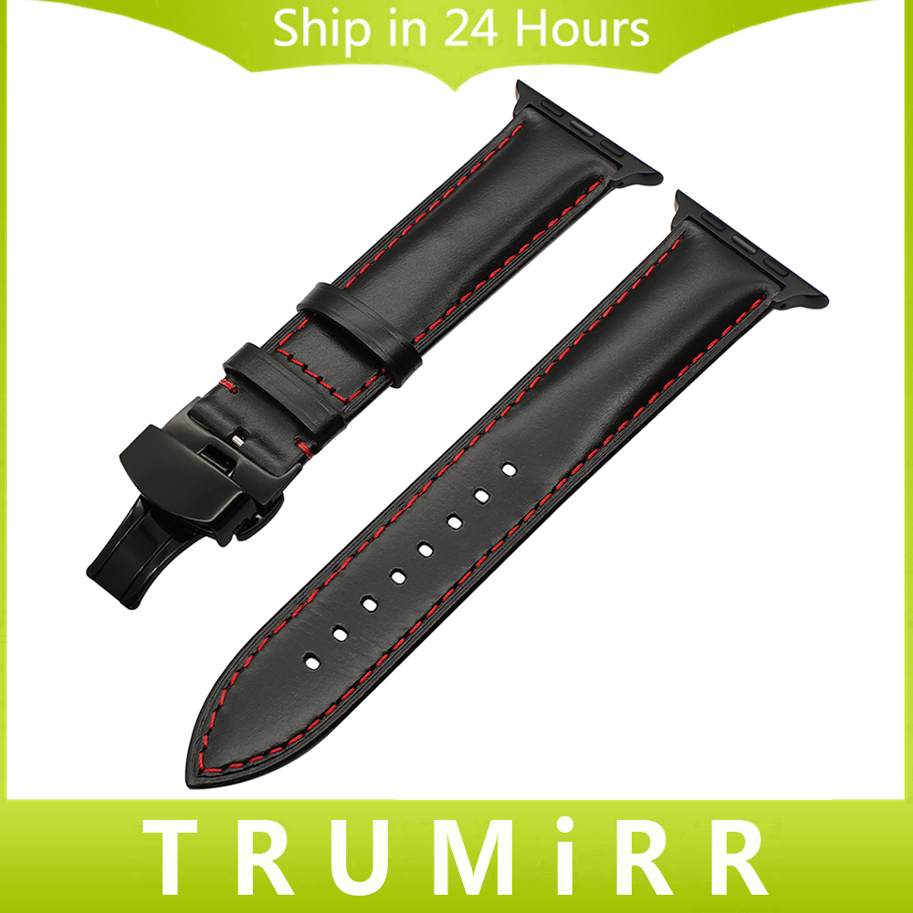 Italian Calf Genuine Leather Watchband for 38mm 42mm iWatch Apple Watch Band Steel Butterfly Buckle Strap Wrist Belt Bracelet istrap black brown red france genuine calf leather single tour bracelet watch strap for iwatch apple watch band 38mm 42mm