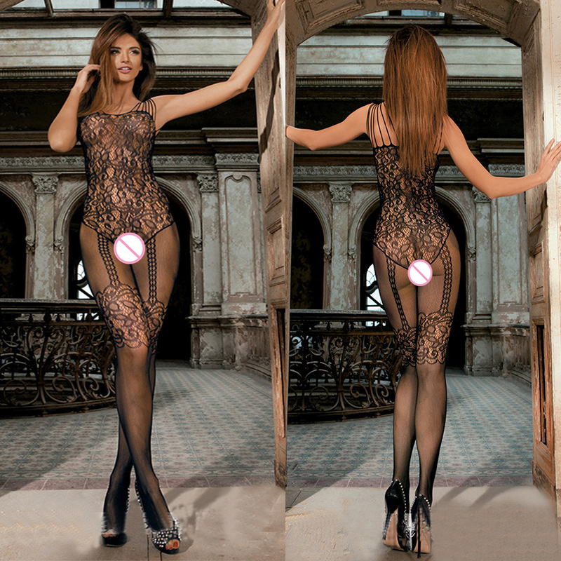 Sexy Bodystocking Fishnet Bodysuit Erotic Lingerie Encaje Costumes Black Body Suit Underwear Women For Sex Crotchless
