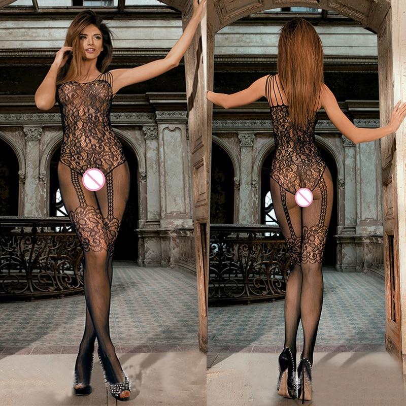 Sexy Bodystocking Fishnet Bodysuit Erotic Lingerie Encaje Costumes Black Body Suit Underwear Women For Sex Crotchless