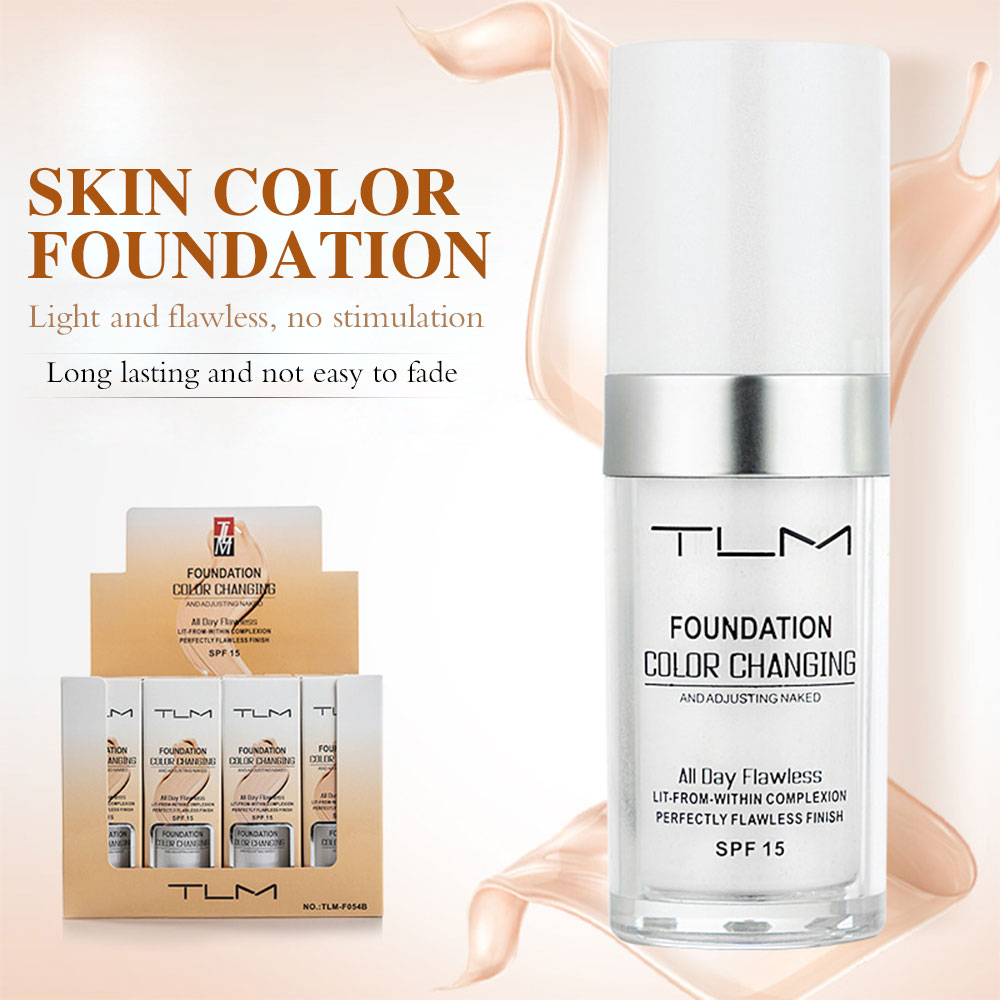 TLM Color Changing Liquid Foundation 30ml Makeup Change To Your Skin Tone By Just Blending Waterproof Cover Concealer Beauty image