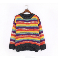 2017 Autumn Rainbow Stripe Patchwork Panelled Pullover Knitted Sweater Fashion Women S Clothing Lovely Loose Jumper