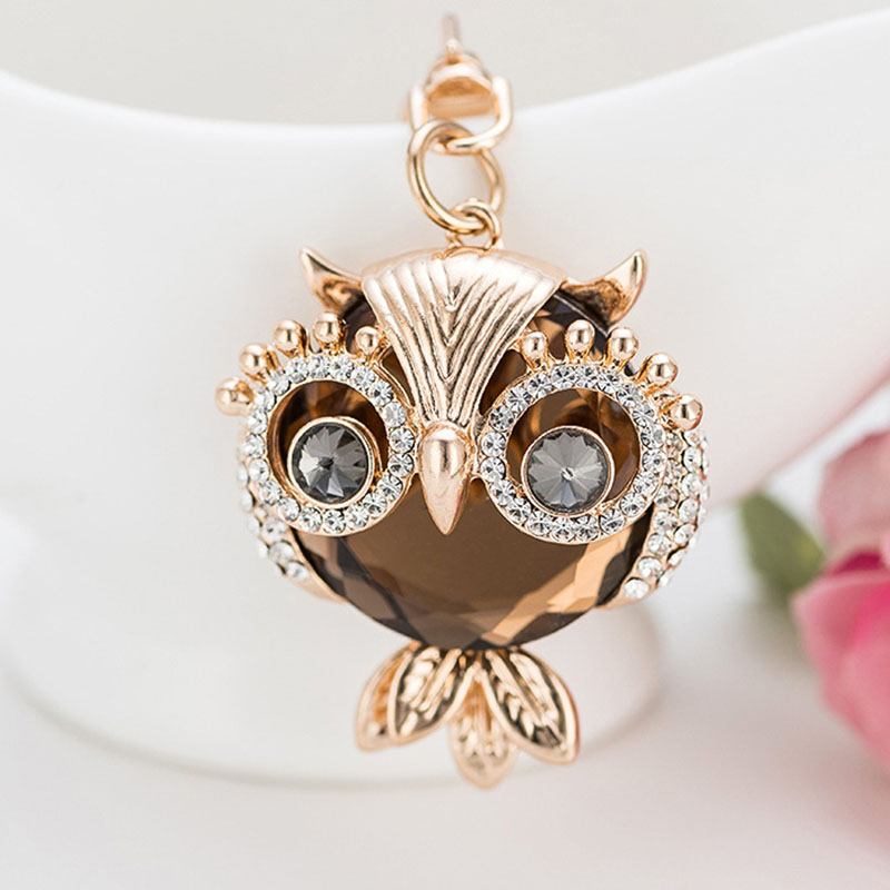 RE New design crystal owl keychain full rhinestone key ring key holders for women bag accessories cute animal car key chain G34 image