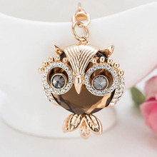 RE New design crystal owl keychain full rhinestone key ring key holders for women bag accessories cute animal car key chain G34 цена 2017
