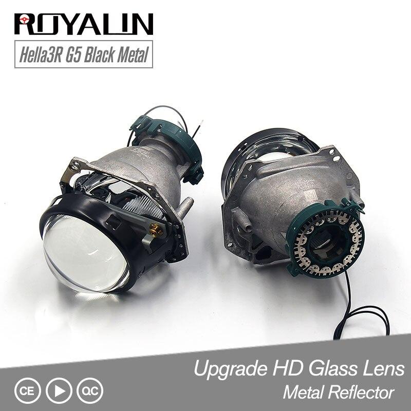 ROYALIN Noir Métal Hella 3R G5 style de voiture Bi Xénon Phares Projecteur Universel Auto HID D2S D2H Lampe Salut/lo rénovation Lentille