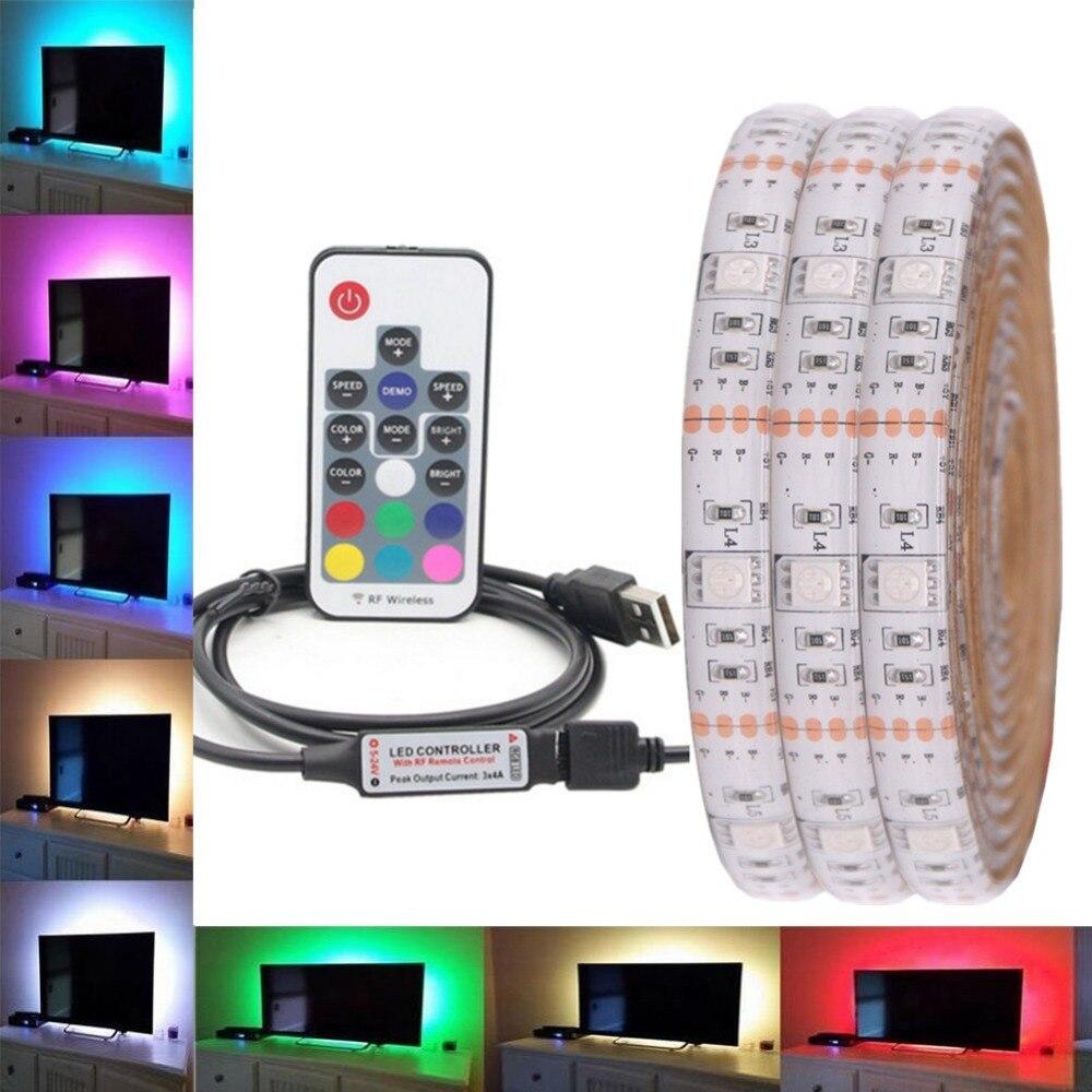 RGB LED Strip Waterproof 5050 DC 5V USB LED Light Strips Flexible bias Lighting 5050 1m 2m 3m 4m 5m add Remote For TV Backlight