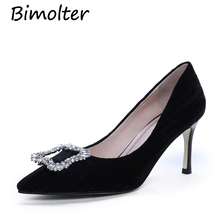 Bimolter Women Fashion Party Pumps Bridal Wedding Shoes Velvet Rhinestone Crystal Shallow Woman Pumps Stiletto High Heel NC069 royal blue rhinestone bridal dress shoes super high heel wedding party prom shoes blue crystal christmas party pumps women shoes