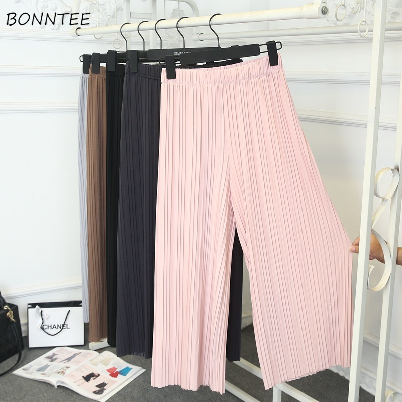 Pants   Women Summer Trendy Chiffon   Wide     Leg     Pant   Daily Loose Soft Womens Breathable Pleated Leisure All-match Elastic Thin Capris