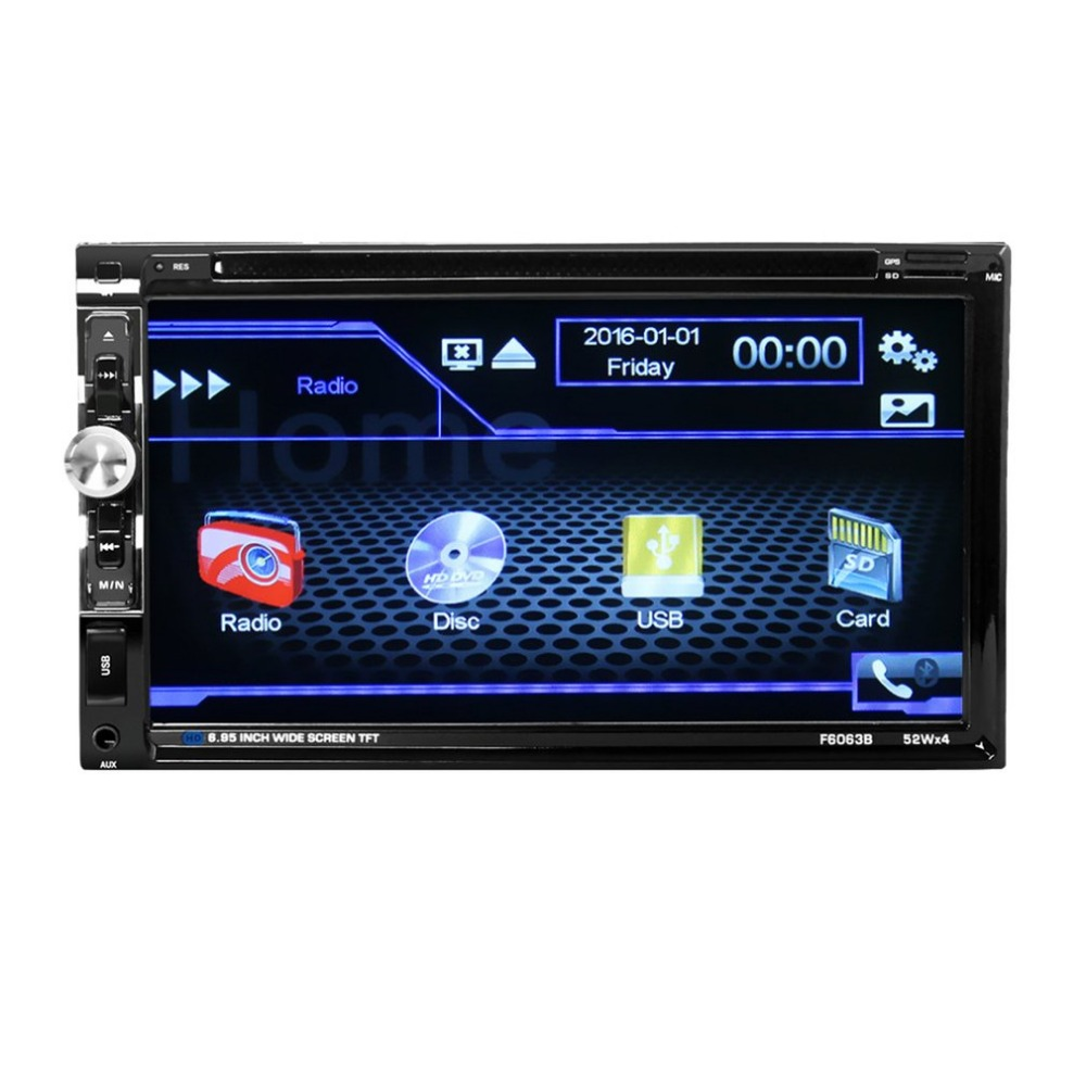 new DC12V 6.95-Inch TFT Touch Screen Car DVD Player Vehicle Automobile Bluetooth MP5 FM Transmitter Support AUX Input