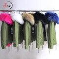 Mulheres Jaqueta de Inverno 2016 Gola de Pele De Guaxinim das Mulheres de Inverno Exército Verde Casacos Grossos Parkas Plus Size Com Capuz Outwear manteau femme
