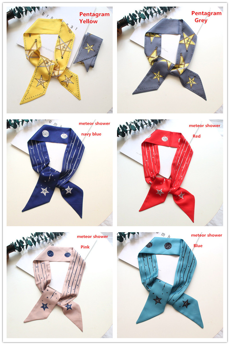 Luxury New high quality silk scarfs women 39 s small neckerchief Mixed Deisgn hair scarf bag handle wraps wristband in Women 39 s Scarves from Apparel Accessories