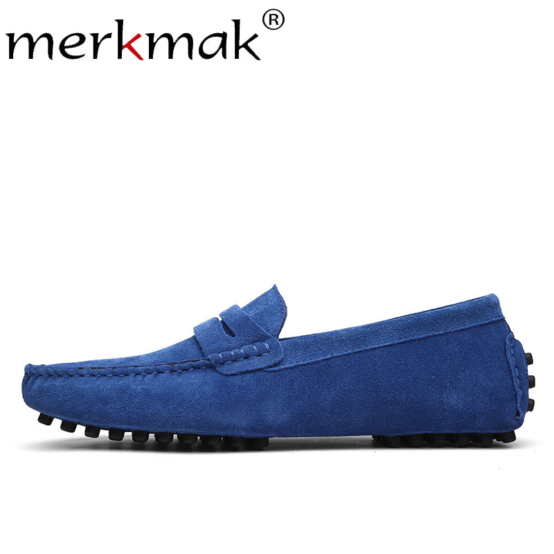 Merkmak Spring   Suede     Leather   Men's Loafers Shoes Fashion Slip On Soft Outdoor Men Boat Shoe Big Size 38-49 Man's Footwear Flats