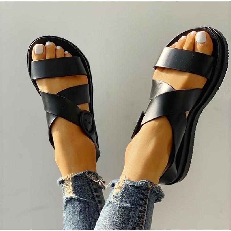 HTB1gpOuRYvpK1RjSZPiq6zmwXXa1 MCCKLE Flat Sandals Women Shoes Gladiator Open Toe Buckle Soft Jelly Sandals Female Casual Women's Flat Platform Beach Shoes