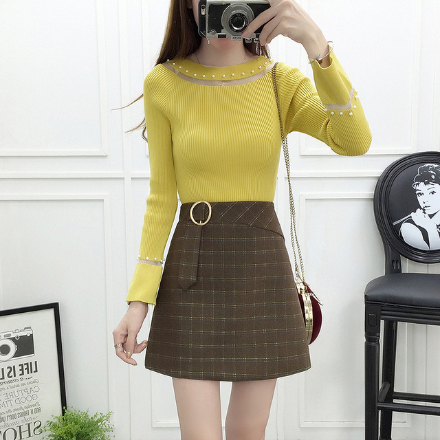 13a0230eb80 winter korean fashion women knitwear grid bust skirt two-piece outfit lady  clothing set pullovers top vestidos design S-XL