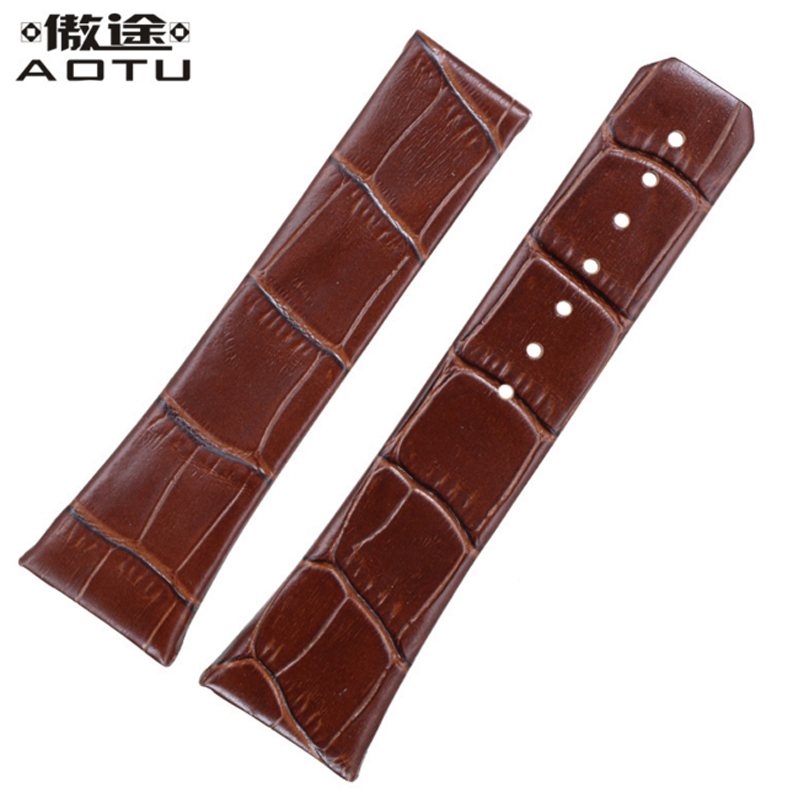 Genuine Leather Watchbands For Omega DOUBLE EAGLE CHRONO Men Watch Band Calfskin Leather For Women Clock Bracelet Belt 23mm eache silicone watch band strap replacement watch band can fit for swatch 17mm 19mm men women