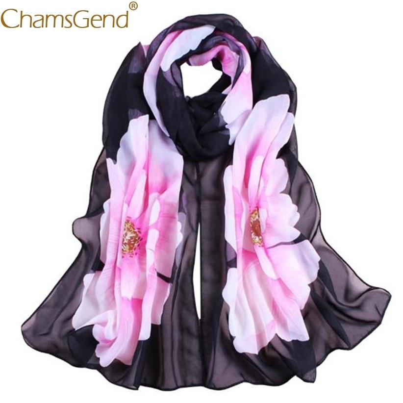 Chamsgend Newly Deisn Scarf Women Fashion Floral Print Thin Chiffon Silk Scarves Wrap Shawl 80413