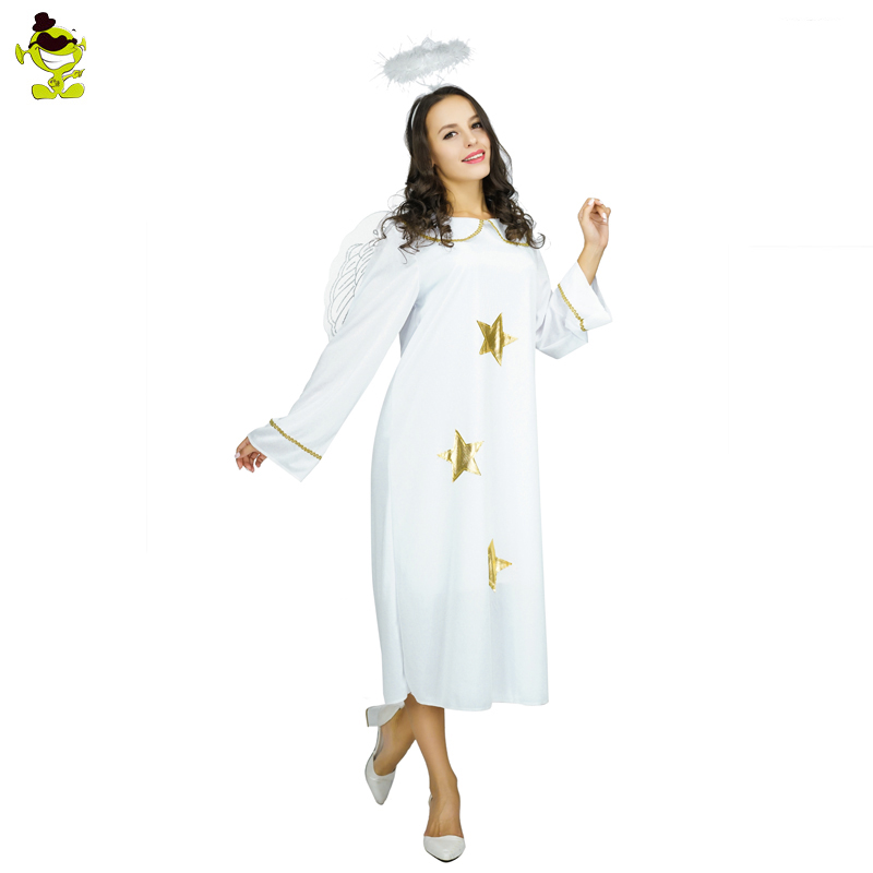 New Angel Costume Dress Pure White Fantasia Halloween Costumes For Adult's Women's  Fancy Dress Costumes