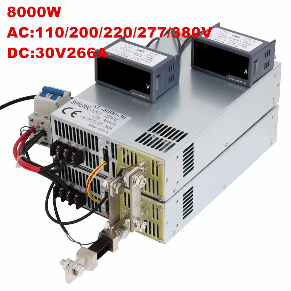 8000W 30V 266A 0-30V power supply 30V 266A AC-DC High-Power PSU 0-5V analog signal control DC30V 266A 110V 200V 220V 277VAC 3500w 30v 116a dc 0 30v power supply 30v 116a ac dc high power psu 0 5v analog signal control se 3500 30