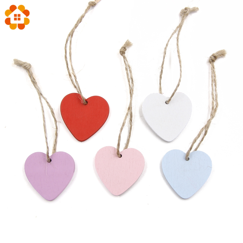 10PC DIY Wooden Hearts Wooden Pendants Ornaments Wood Craft Wedding ...
