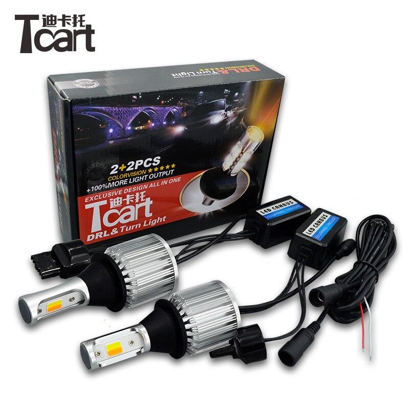 Tcart 2pcs Car LED DRL Daytime Running Lights Turn Signals T20 WY21W COB For Mitsubishi Outlander XL 2007-2010 tcart led daytime running lights drl