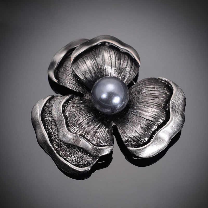 Cổ Màu Đen Retro Hoa Trâm Cài Cổ Điển Trang Sức Thời Trang Mới Mô Phỏng Ngọc Trâm Pins Đối Với Phụ Nữ Quà Tặng Phù Hiệu