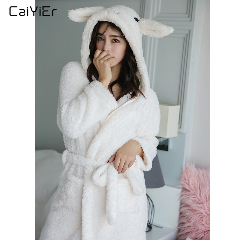 Caiyier 2019 Autumn Winter Flannel Nightgown Robe Cute Rabbit Ears Thick Warm Women Bathrobe White Sleepwear Bath Warm Robe