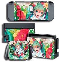 Miku vinil protetor de pele adesivo para nintendo switch ns console + controlador + suporte película protetora adesivo