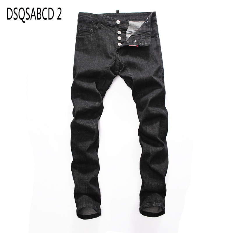 European American Style Famous Brand Jeans Luxury Men Straight Denim Trousers Slim Black Casual Jeans Pencil Pants For Men 8068