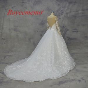Image 2 - 2018 Royeememo طويلة الأكمام الكرة ثوب الدانتيل فستان الزفاف