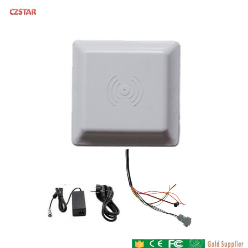 UHF RFID Reader 6m Long Range Reader Integrated Antenna RS232/485 Wiegand With Free SDK  FCC Approved +5pcs Uhf Rfid Card Sample